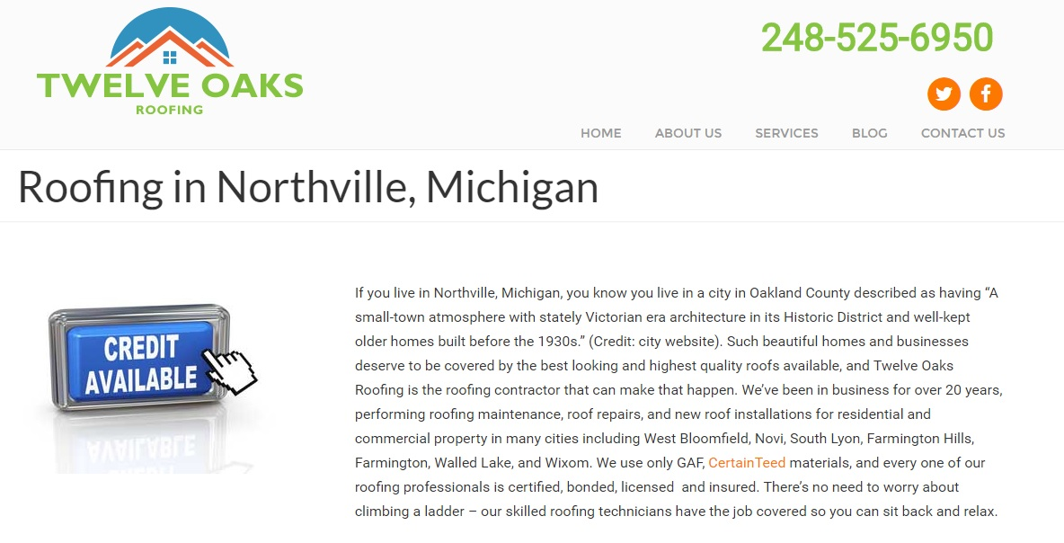 Roofing Contractor in Northville Michigan