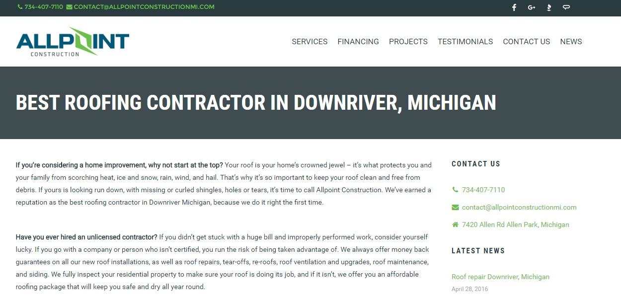 Roofing Contractors in Downriver Michigan